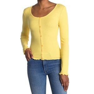 ABOUND YELLOW  POINTELLE KNIT TOP IN YELLOW
